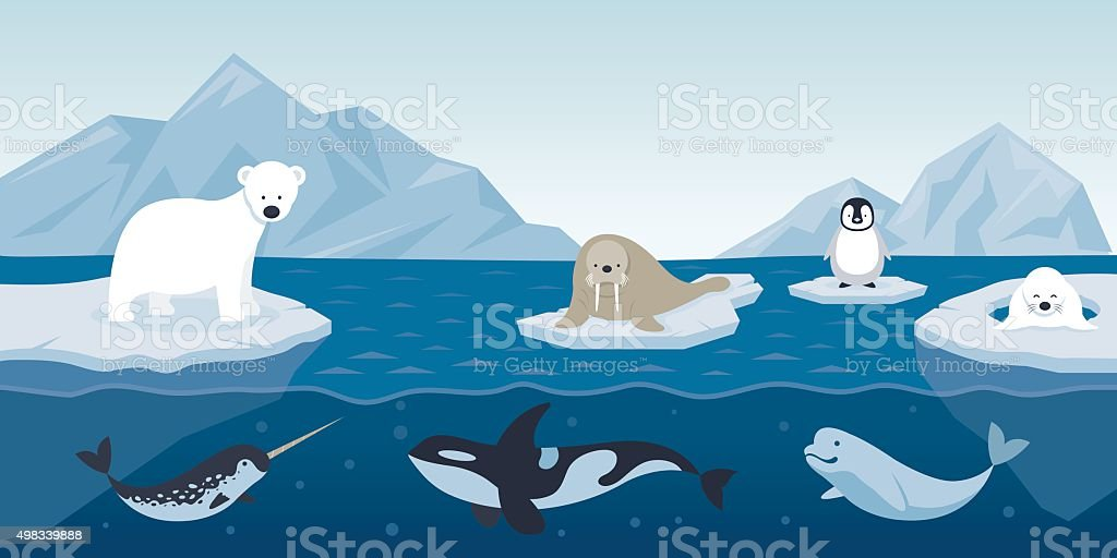 Arctic Animals Character and Background vector art illustration