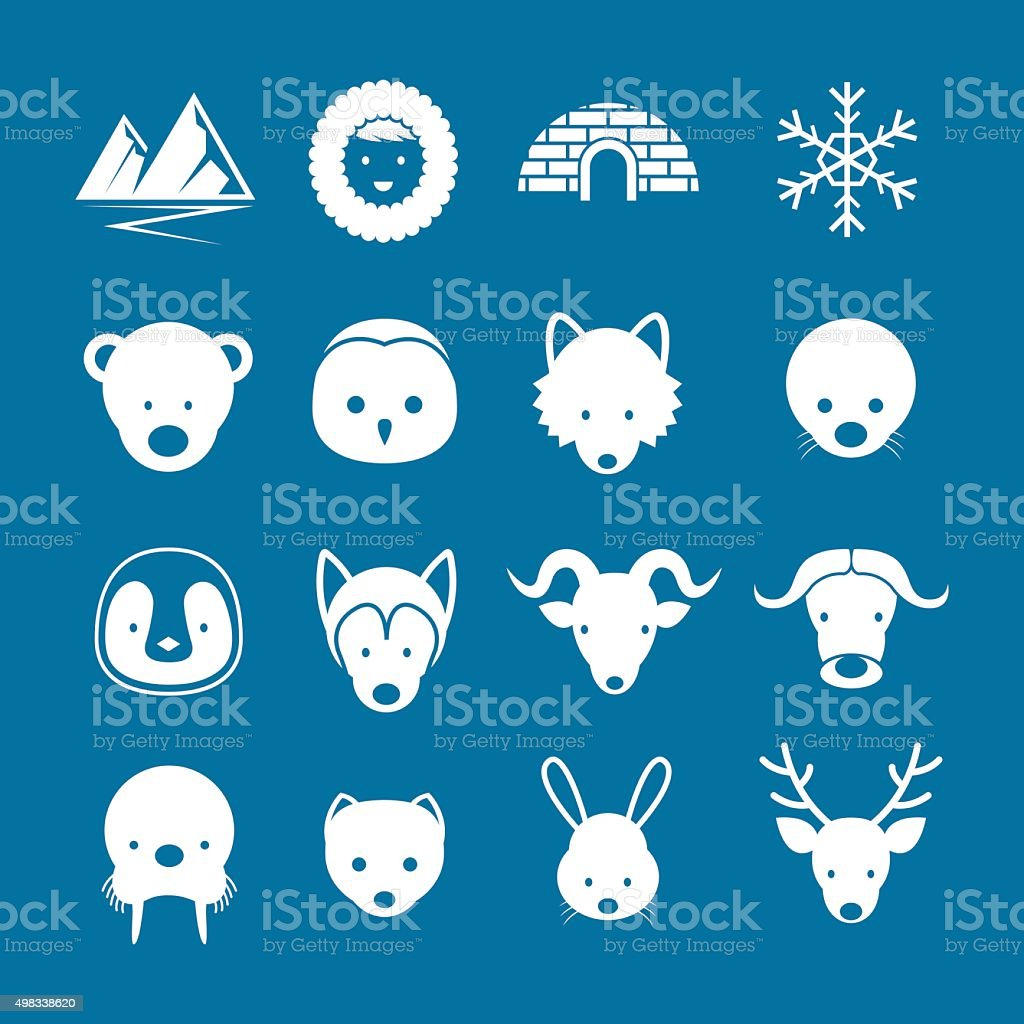 Arctic Animals Flat Icons Mono Color Set vector art illustration