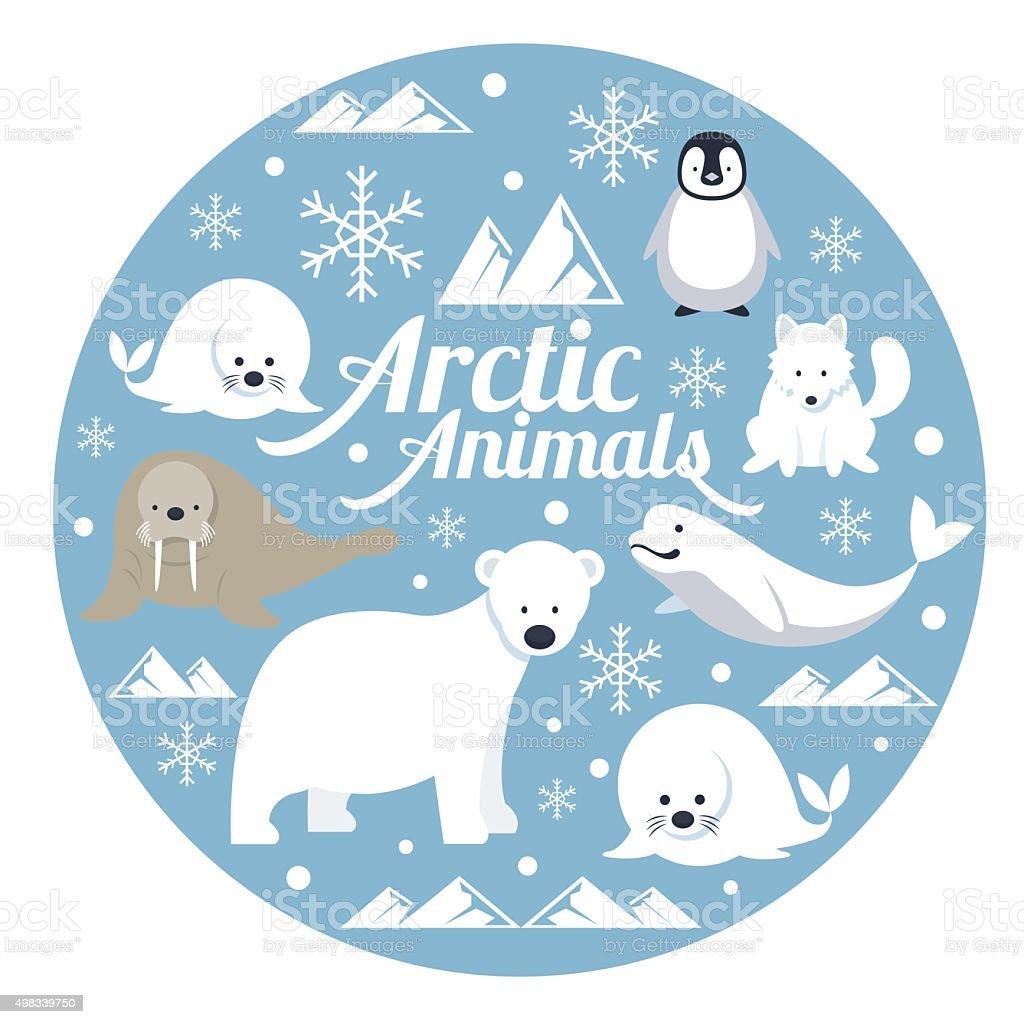 Arctic Animals, Label vector art illustration