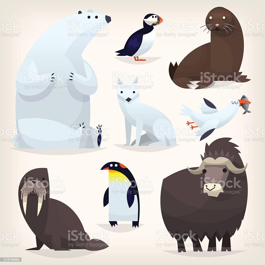 Arctic animals vector art illustration