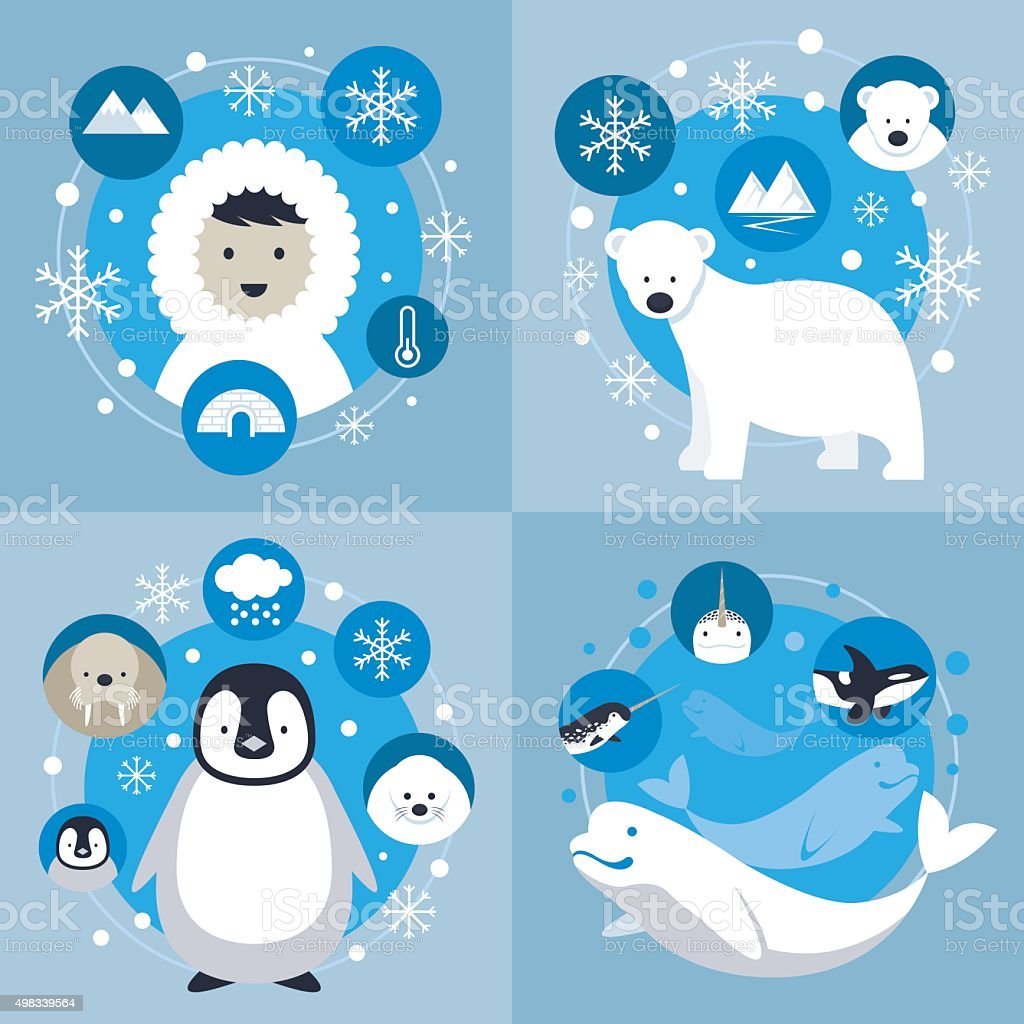 Arctic Characters and Icons Set vector art illustration