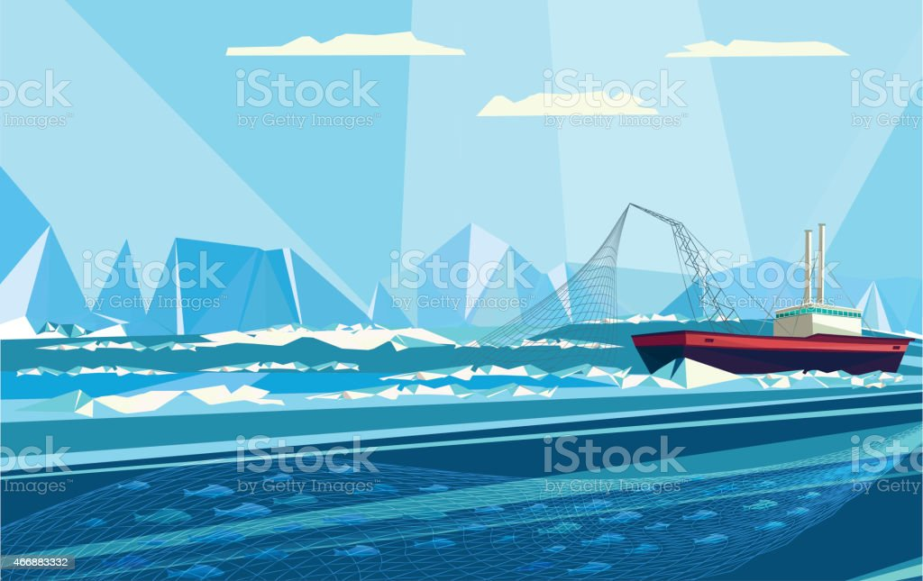 arctic fishing vector art illustration