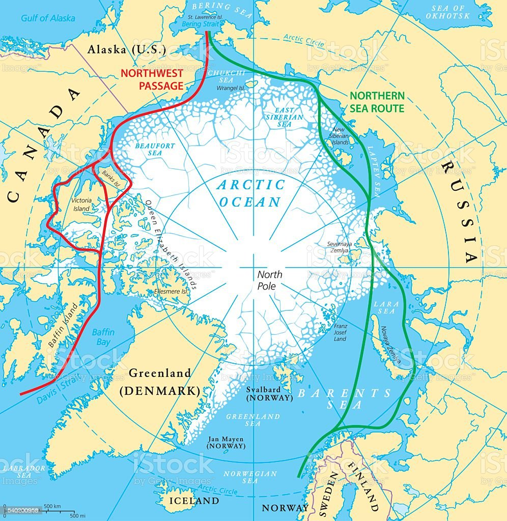 Arctic Ocean Sea Routes Map vector art illustration