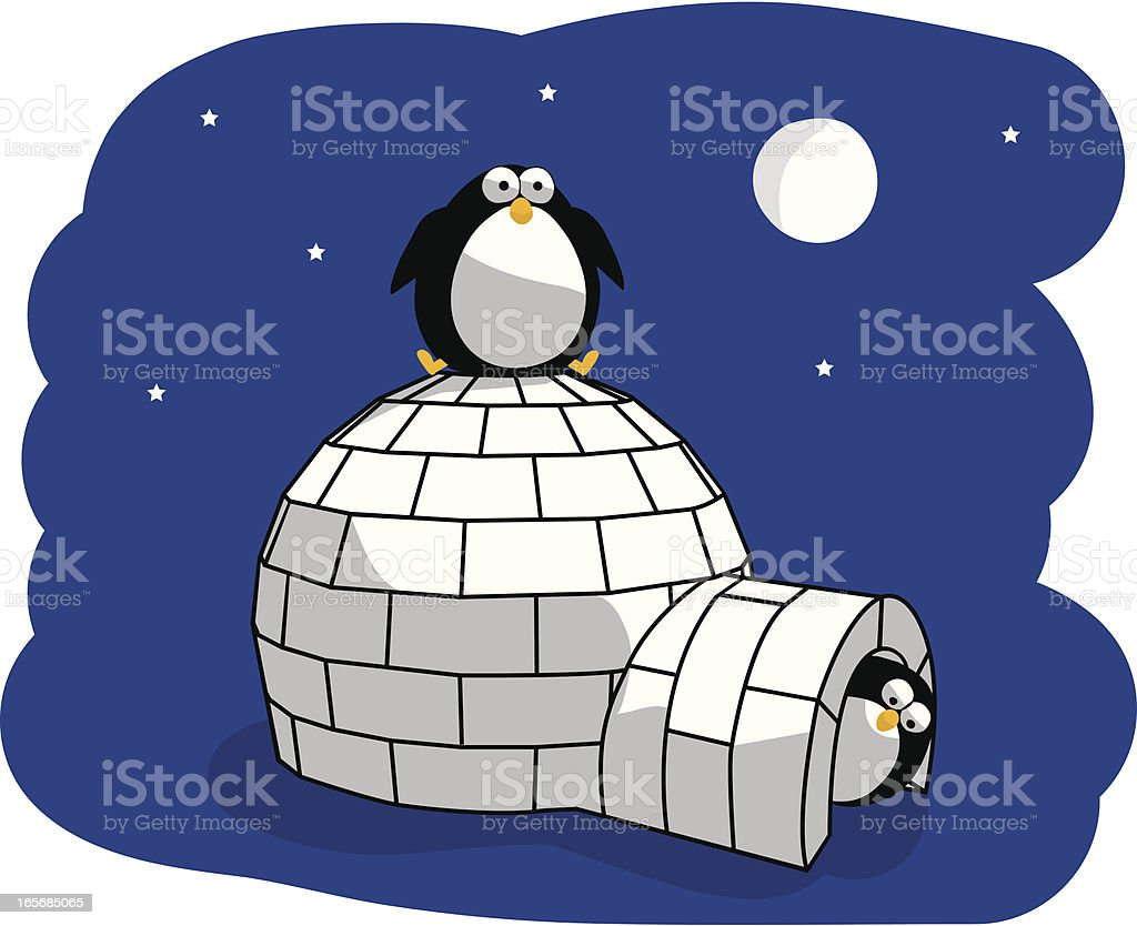 Arctic Penguins at Night and Igloo royalty-free stock vector art