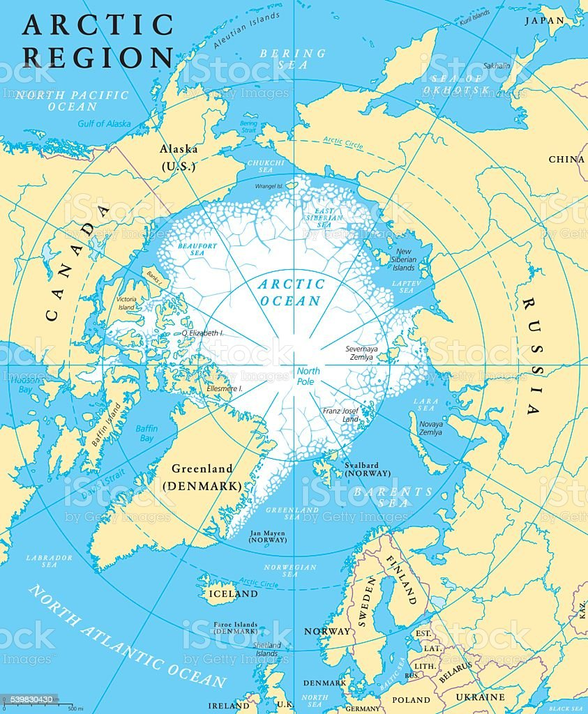 Arctic Region Map vector art illustration