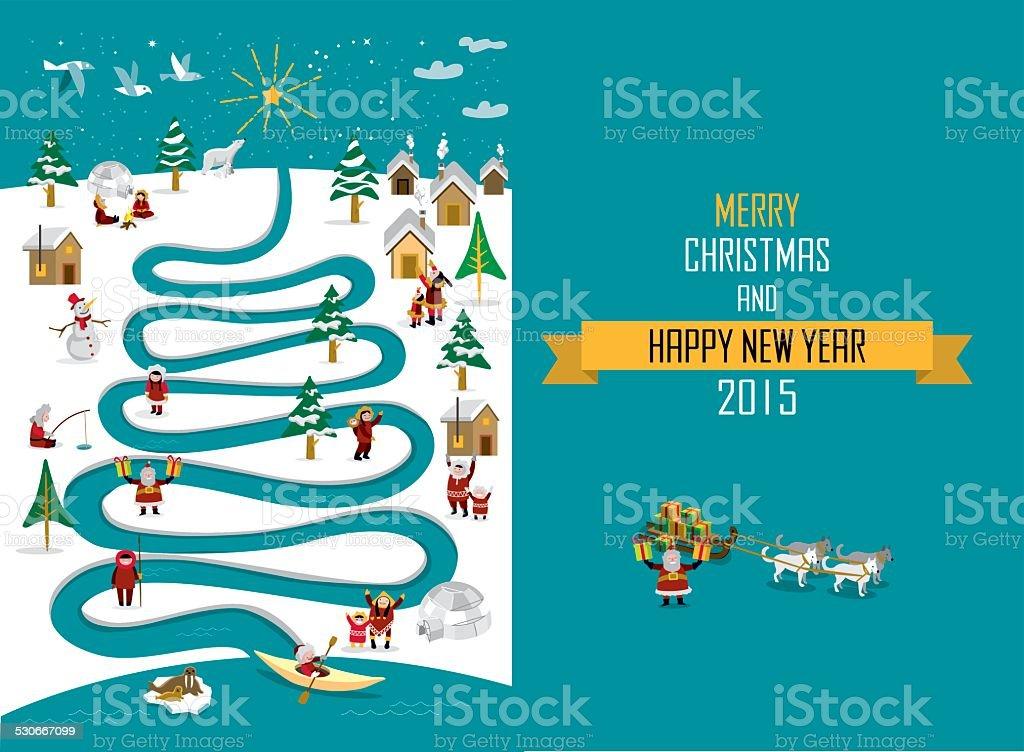 Arctic River Christmas 2015 _english vector art illustration