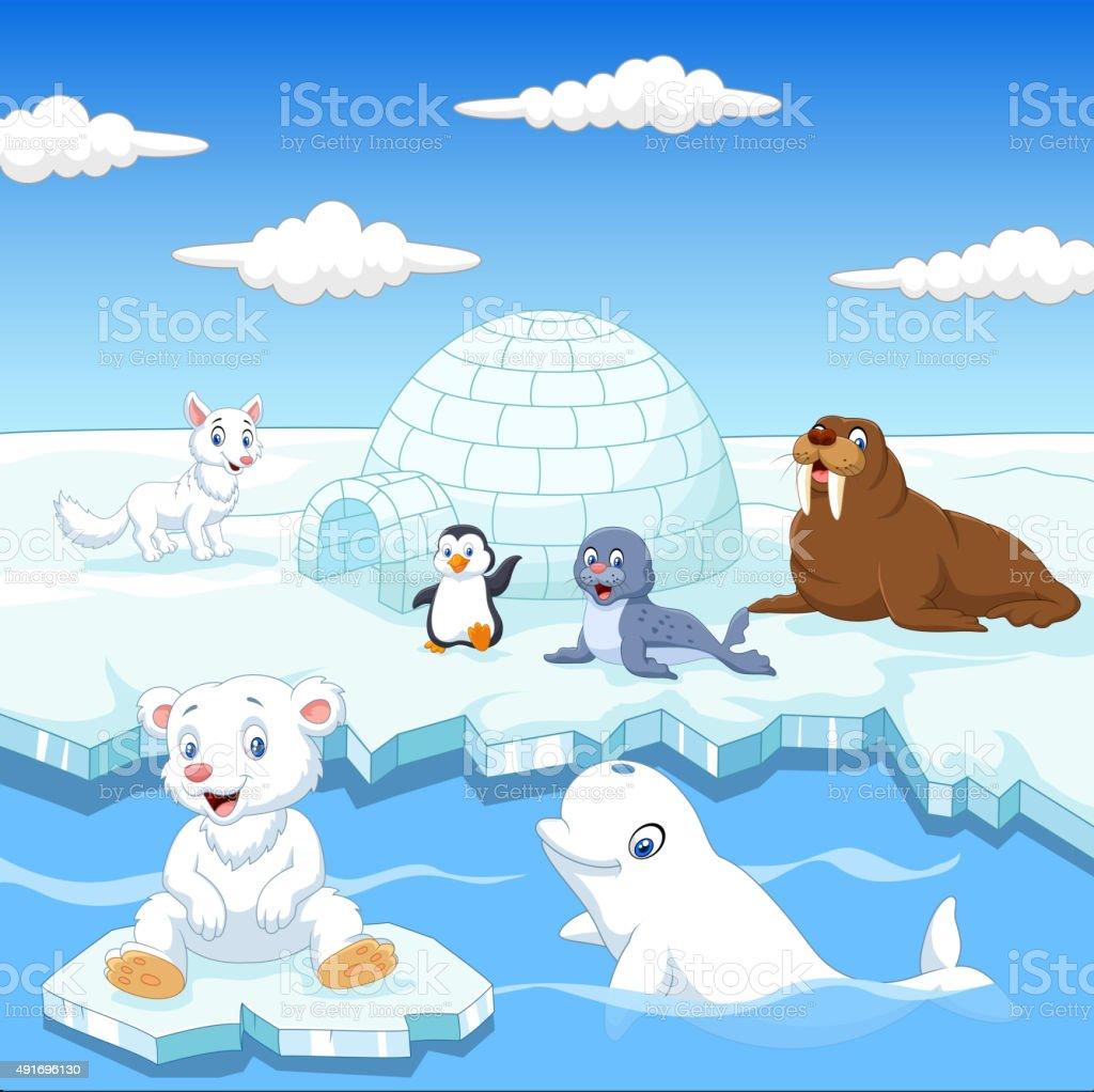 Arctics animals collection set with igloo ice house vector art illustration