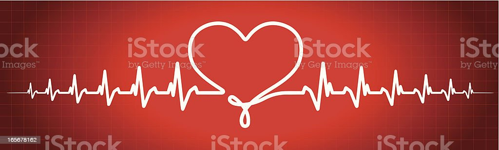 Сardiogram with a heart shape vector art illustration