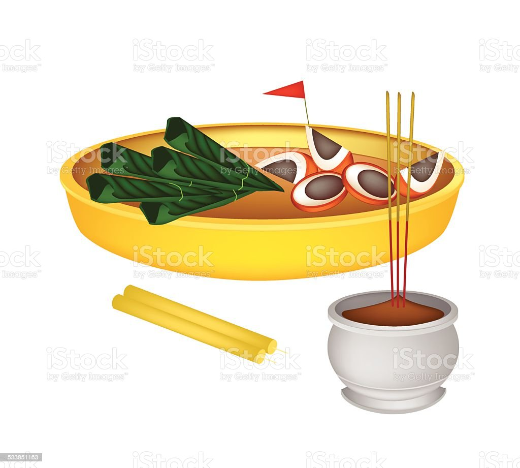 Areca Nuts and Betel Leaves with Candle and Joss Stick vector art illustration