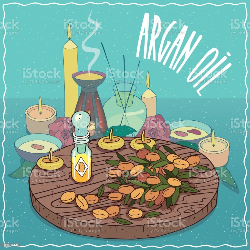 Argan oil used for aromatherapy vector art illustration