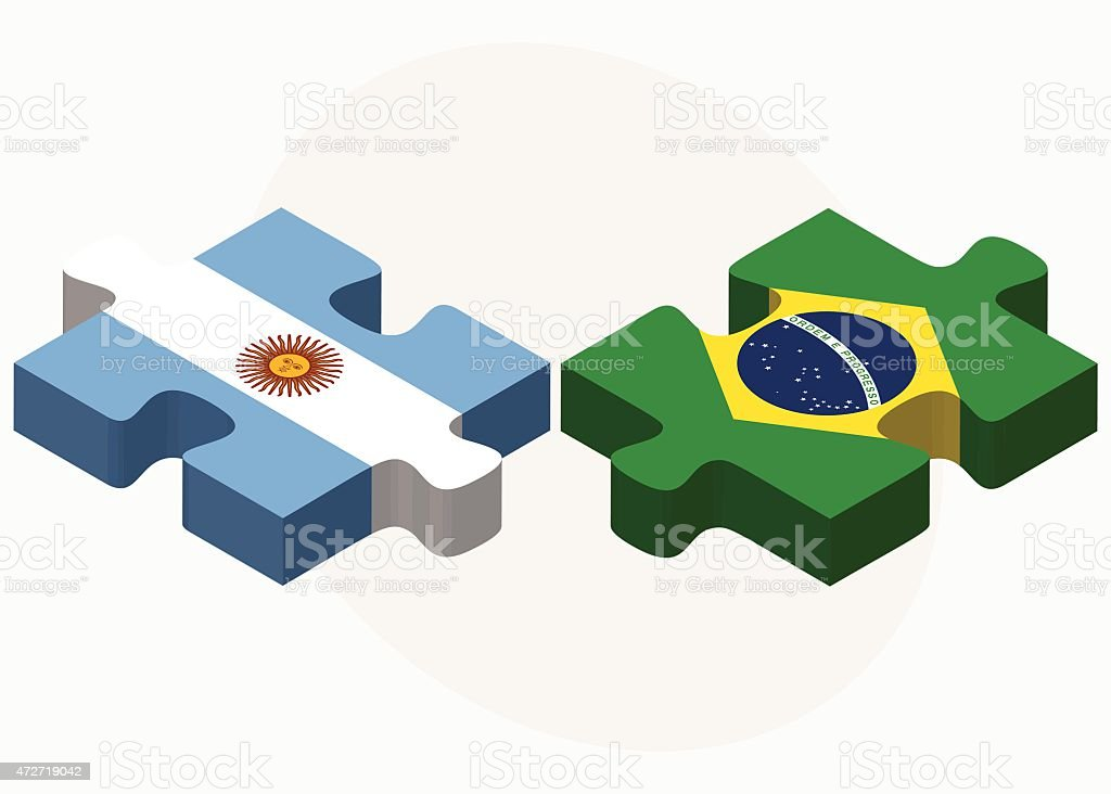 Argentina and Brazil Flags in puzzle vector art illustration