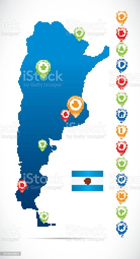 Argentina Blue Map vector art illustration