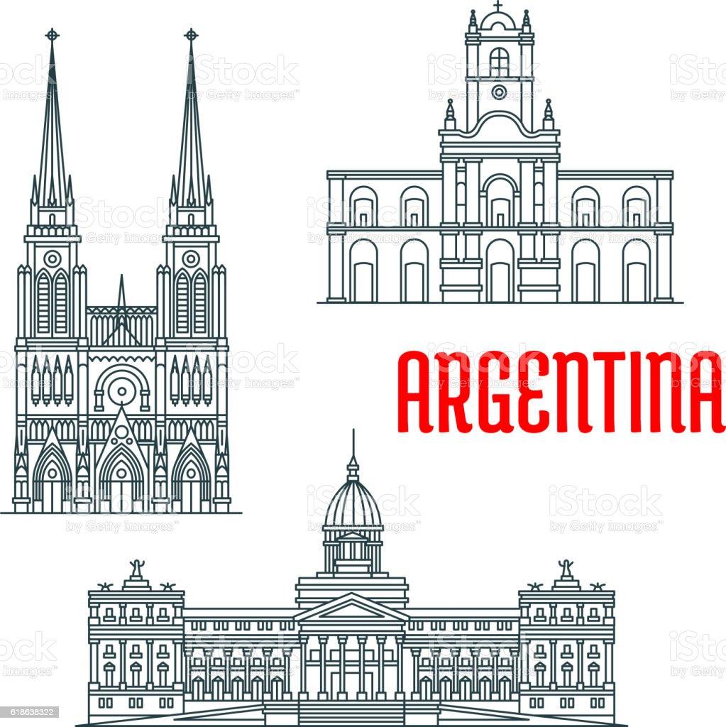 Argentina famous buildings vector facades vector art illustration