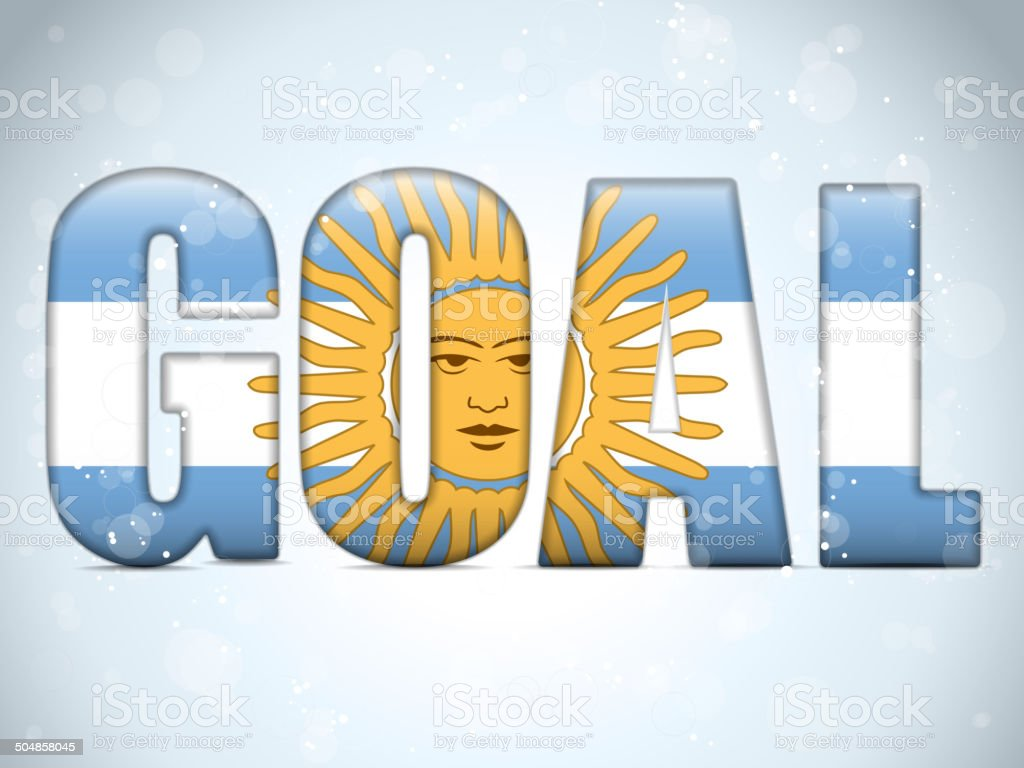 Argentina Goal Soccer 2014 Letters with Argentinian Flag royalty-free stock vector art
