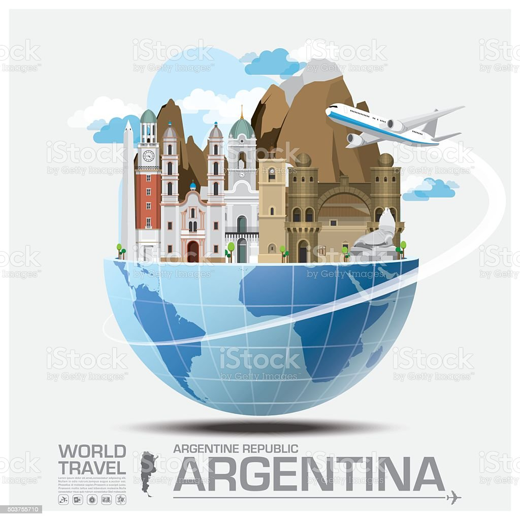 Argentina Landmark Global Travel And Journey Infographic vector art illustration