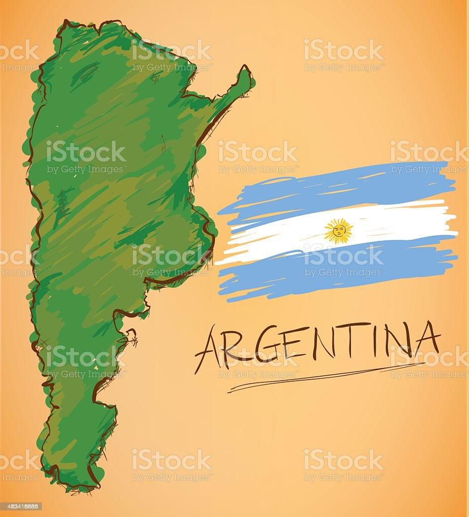 Argentina Map and National Flag Vector vector art illustration