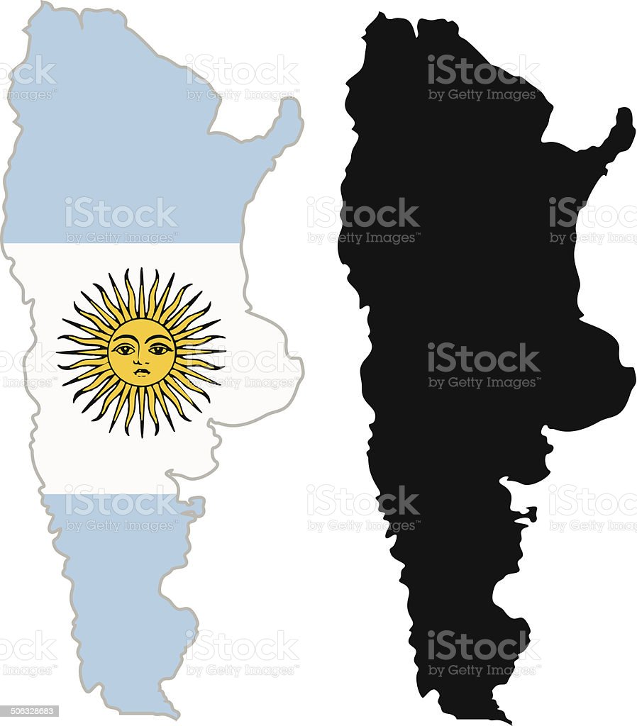 Argentina map flag vector art illustration