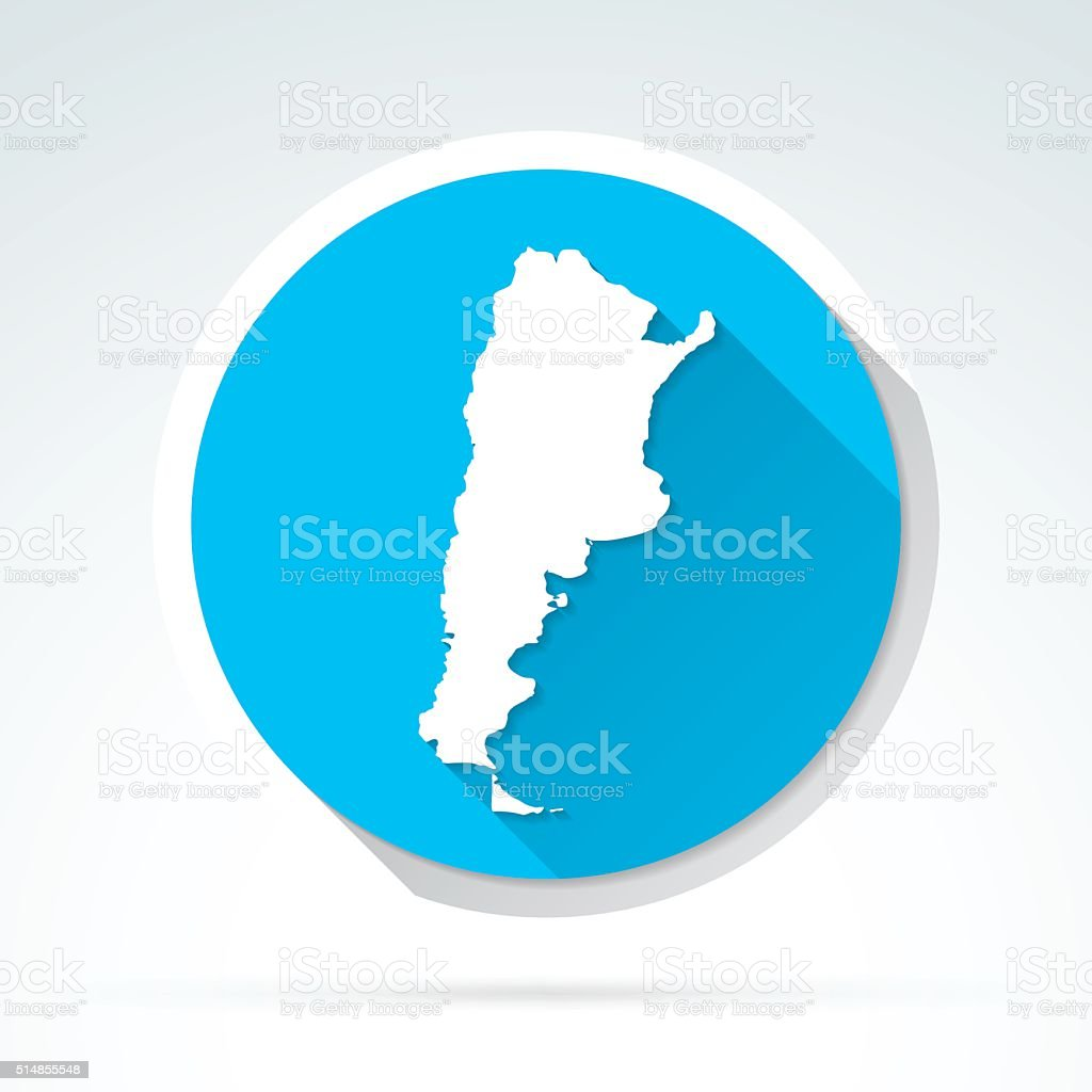 Argentina map icon, Flat Design, Long Shadow vector art illustration