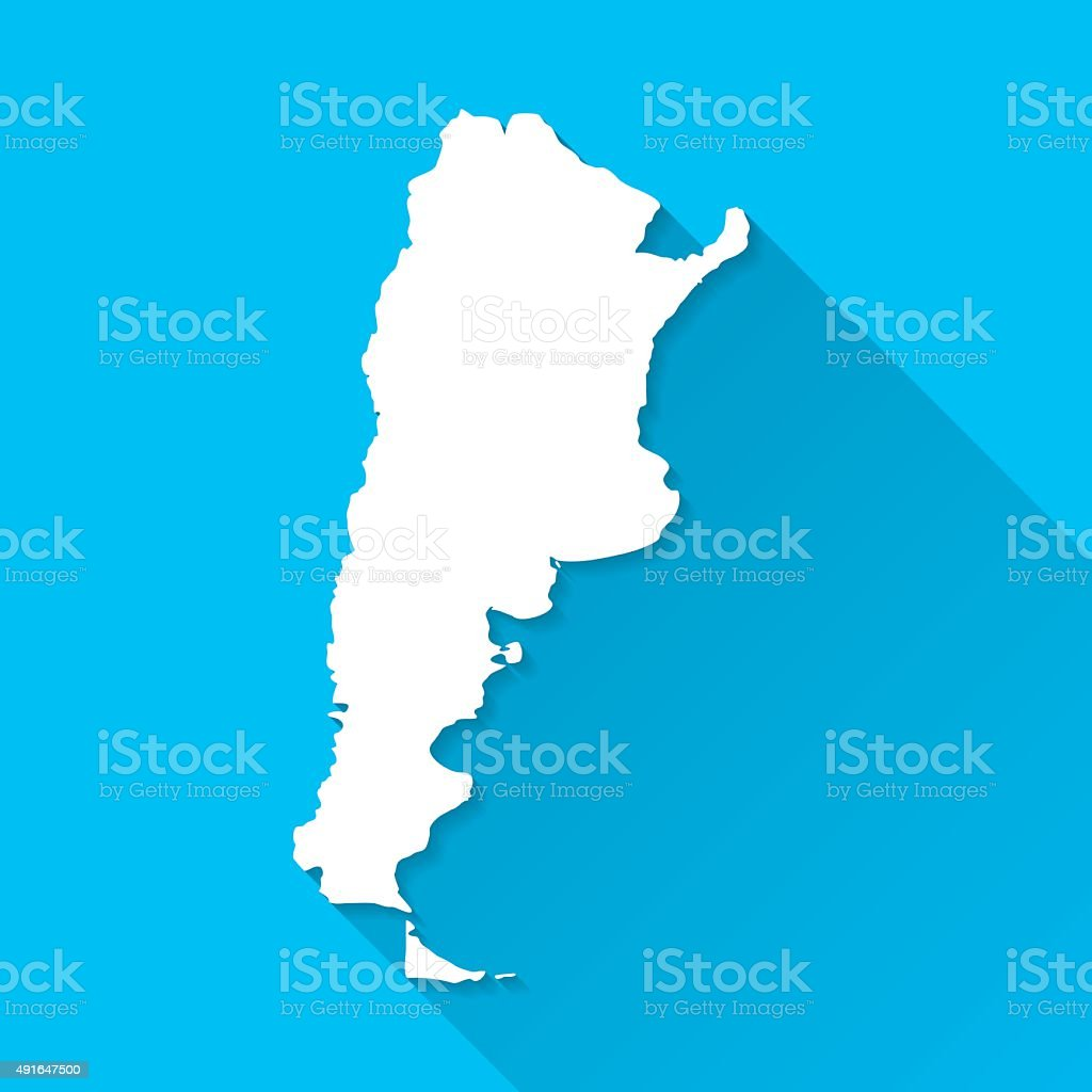 Argentina Map on Blue Background, Long Shadow, Flat Design vector art illustration