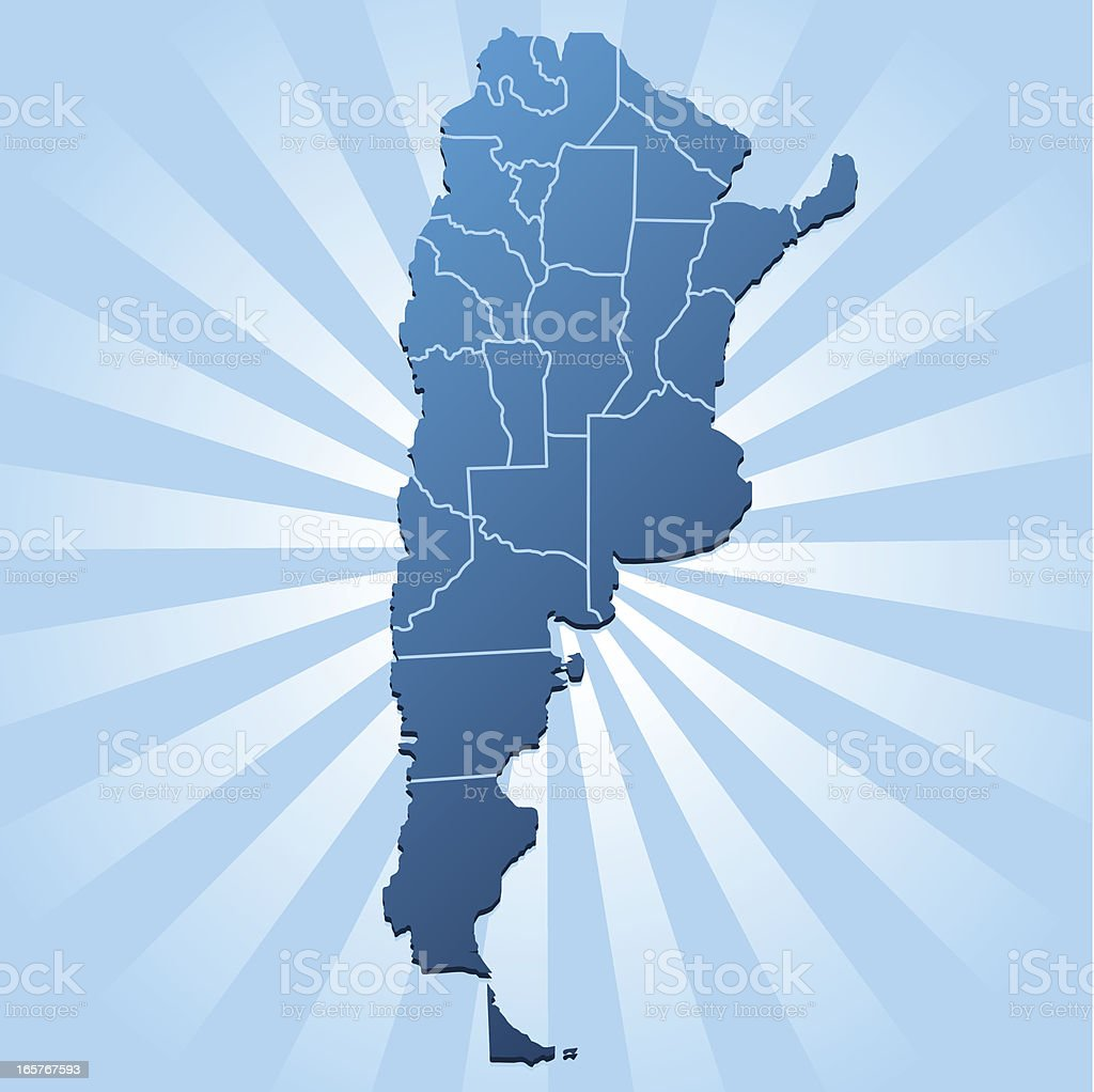 Argentina map on blue rays royalty-free stock vector art