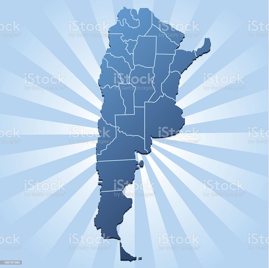 Argentina map on blue rays vector art illustration