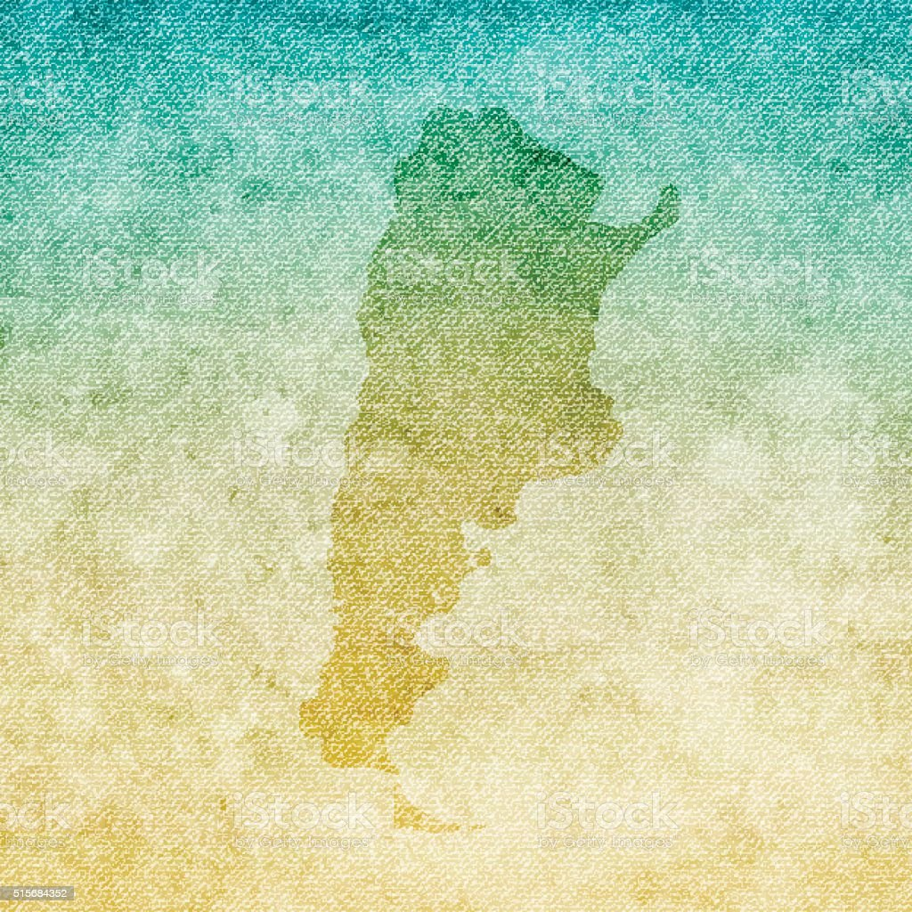 Argentina Map on grunge Canvas Background vector art illustration