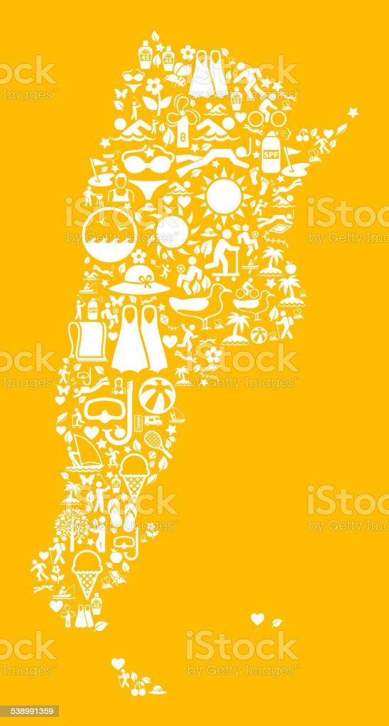 Argentina Map on Yellow Summer Pattern Background vector art illustration