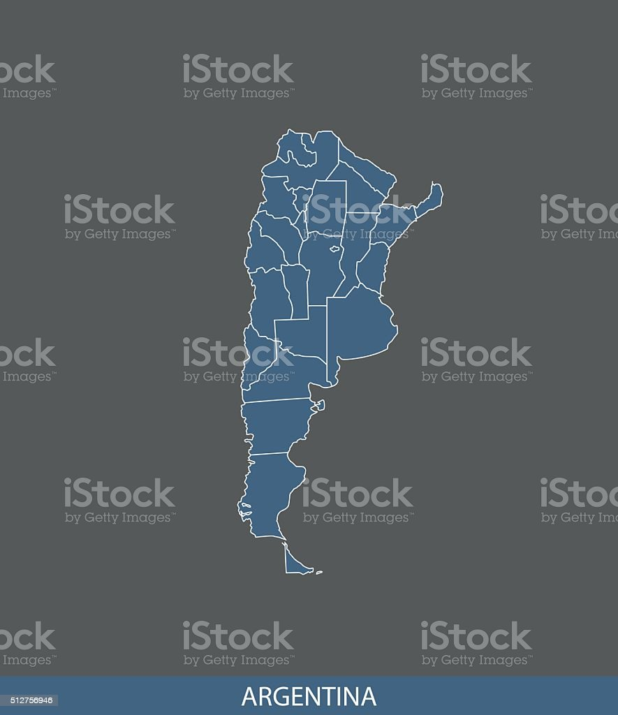 Argentina map outline vector in gray background vector art illustration