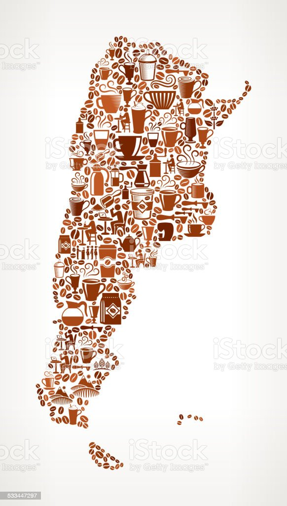 Argentina Map royalty free vector Coffee Background Graphic vector art illustration