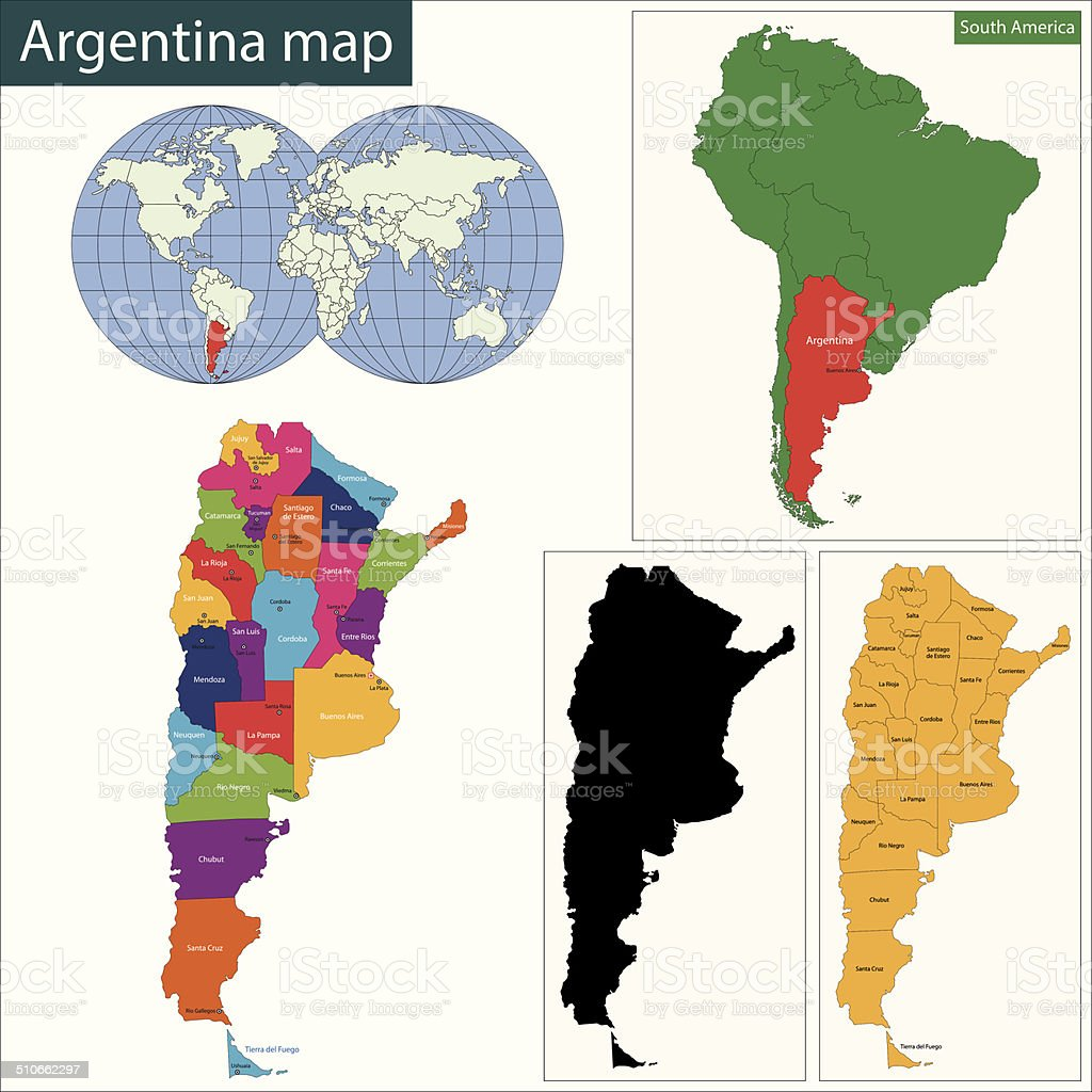 Argentina map vector art illustration