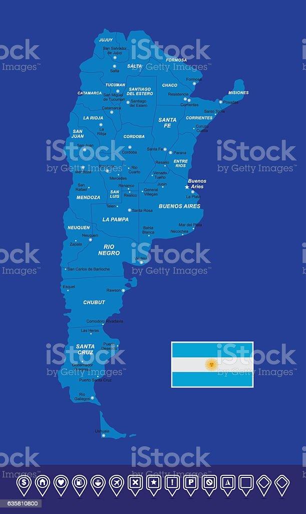 Argentina Map vector art illustration