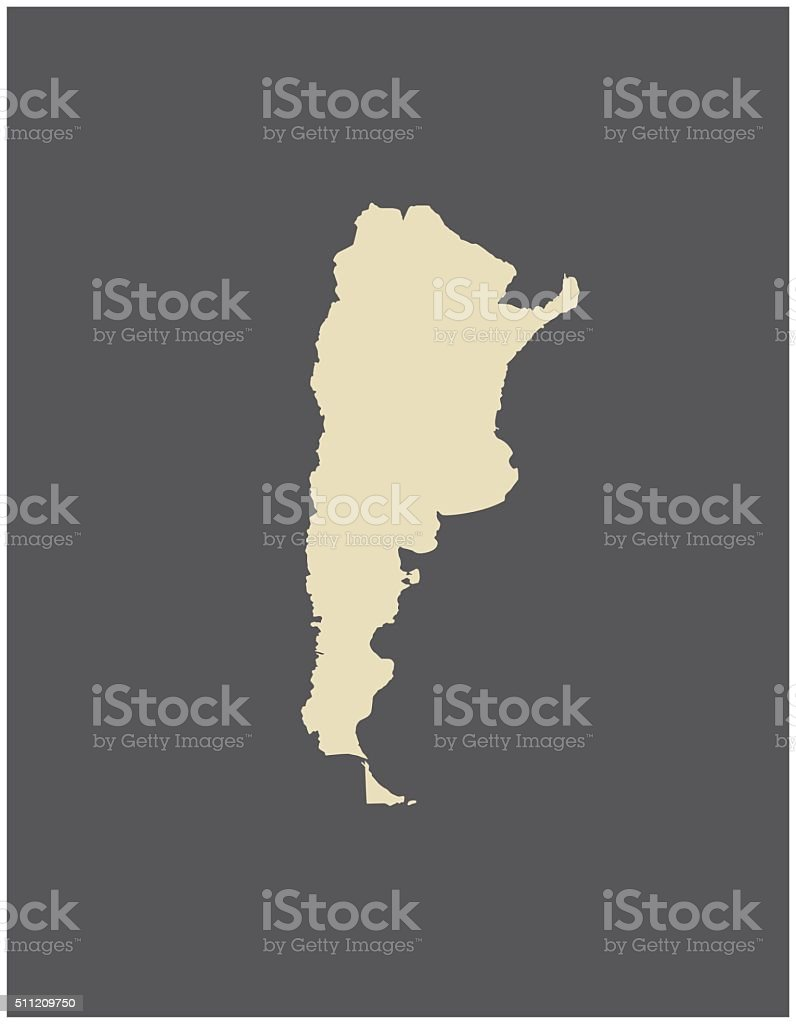 Argentina map vector outline vector art illustration