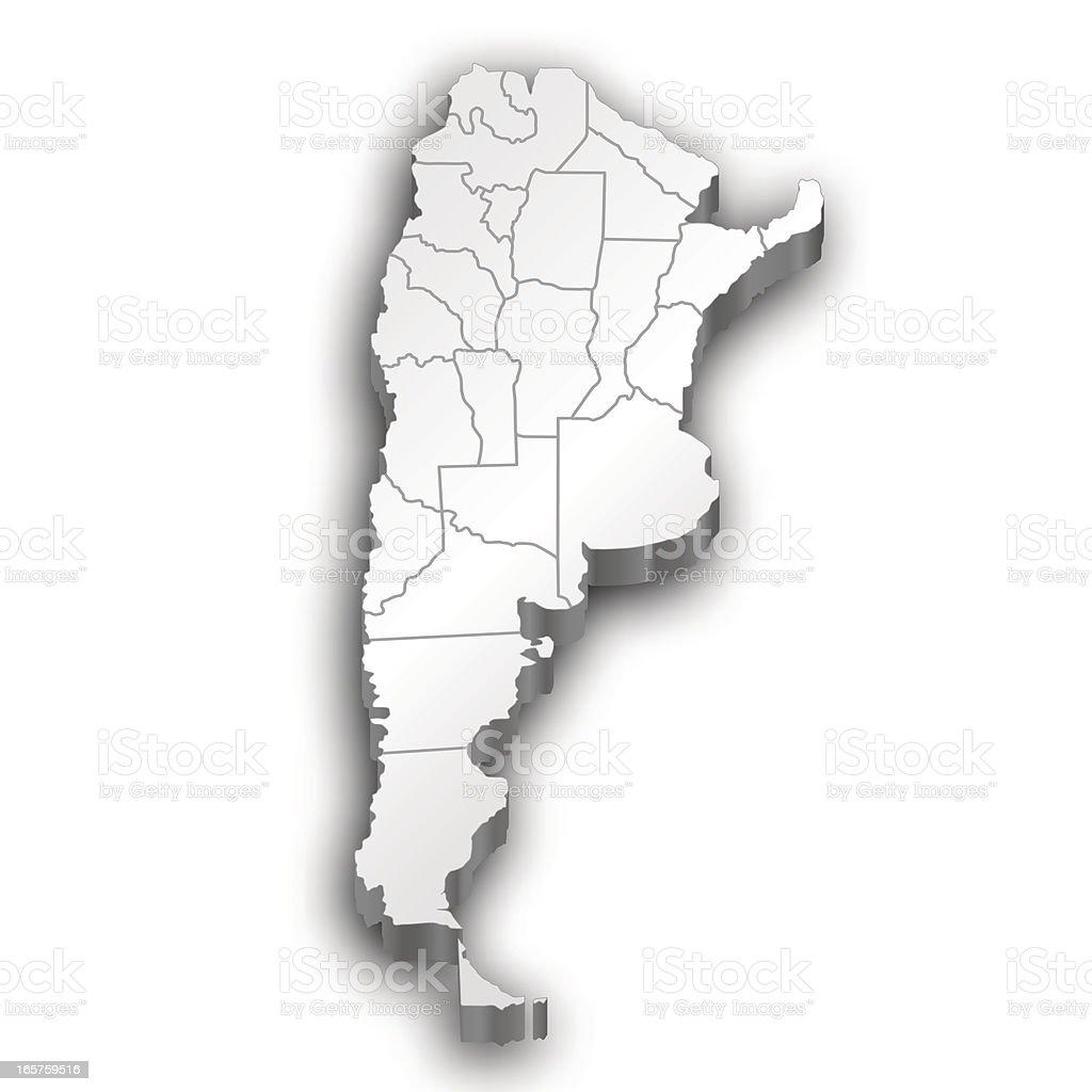 Argentina map white vector art illustration