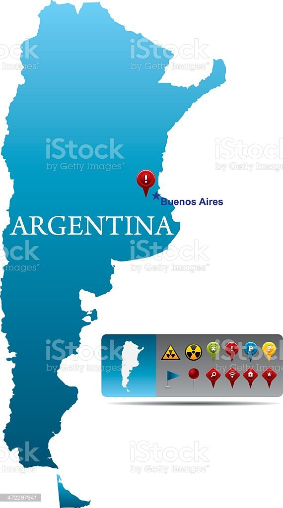 Argentina map with navigation icons royalty-free stock vector art