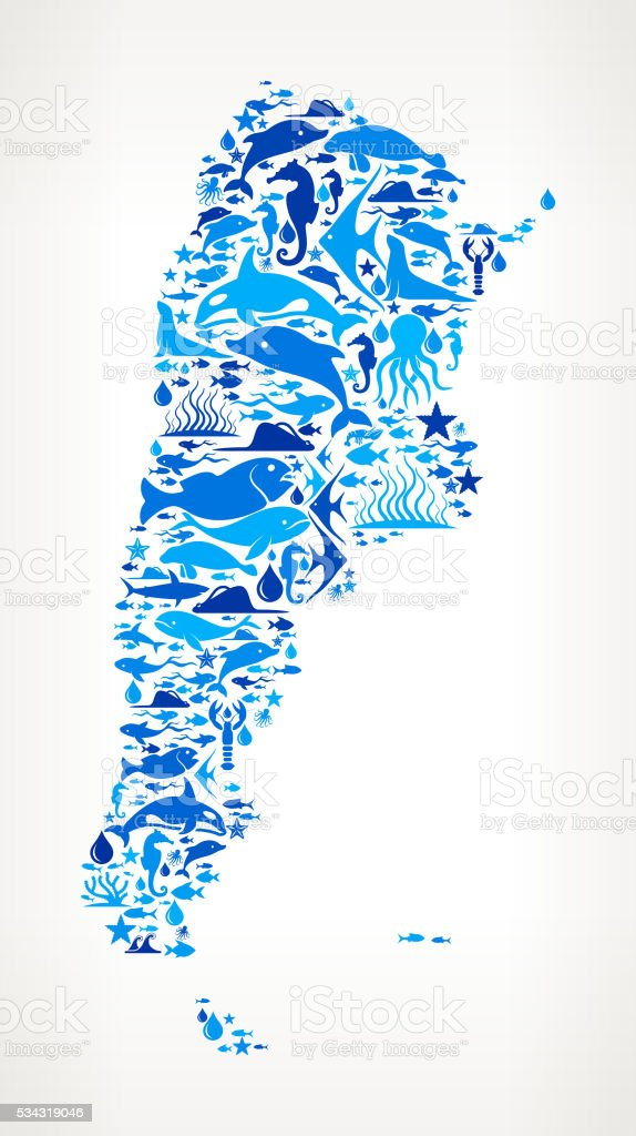 argentina Ocean Marine Life Blue Icon Pattern vector art illustration