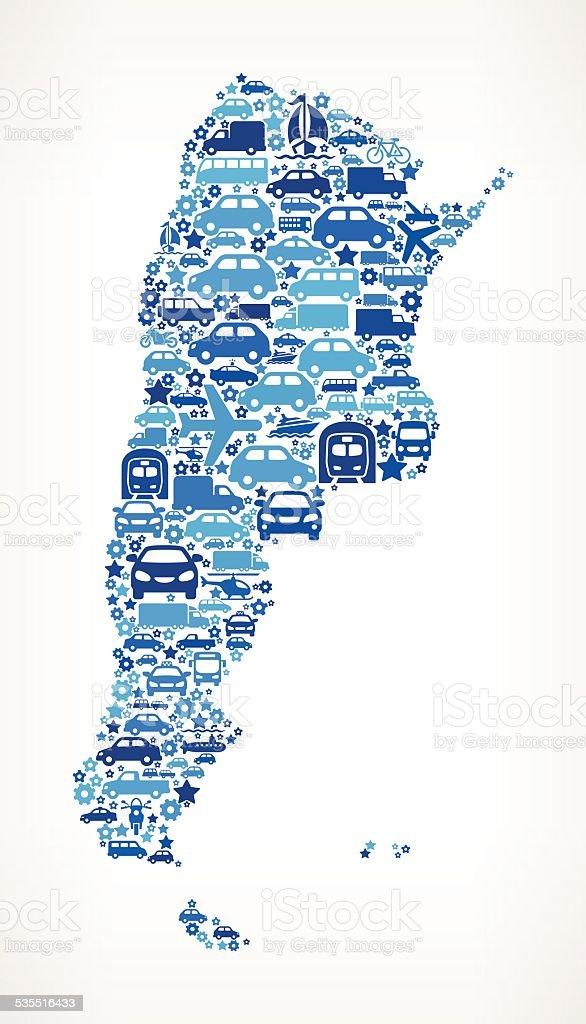 Argentina On Transportation royalty free vector art Pattern vector art illustration