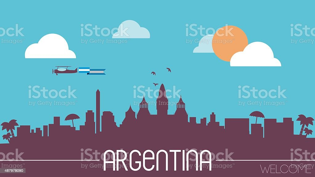 Argentina skyline silhouette vector art illustration