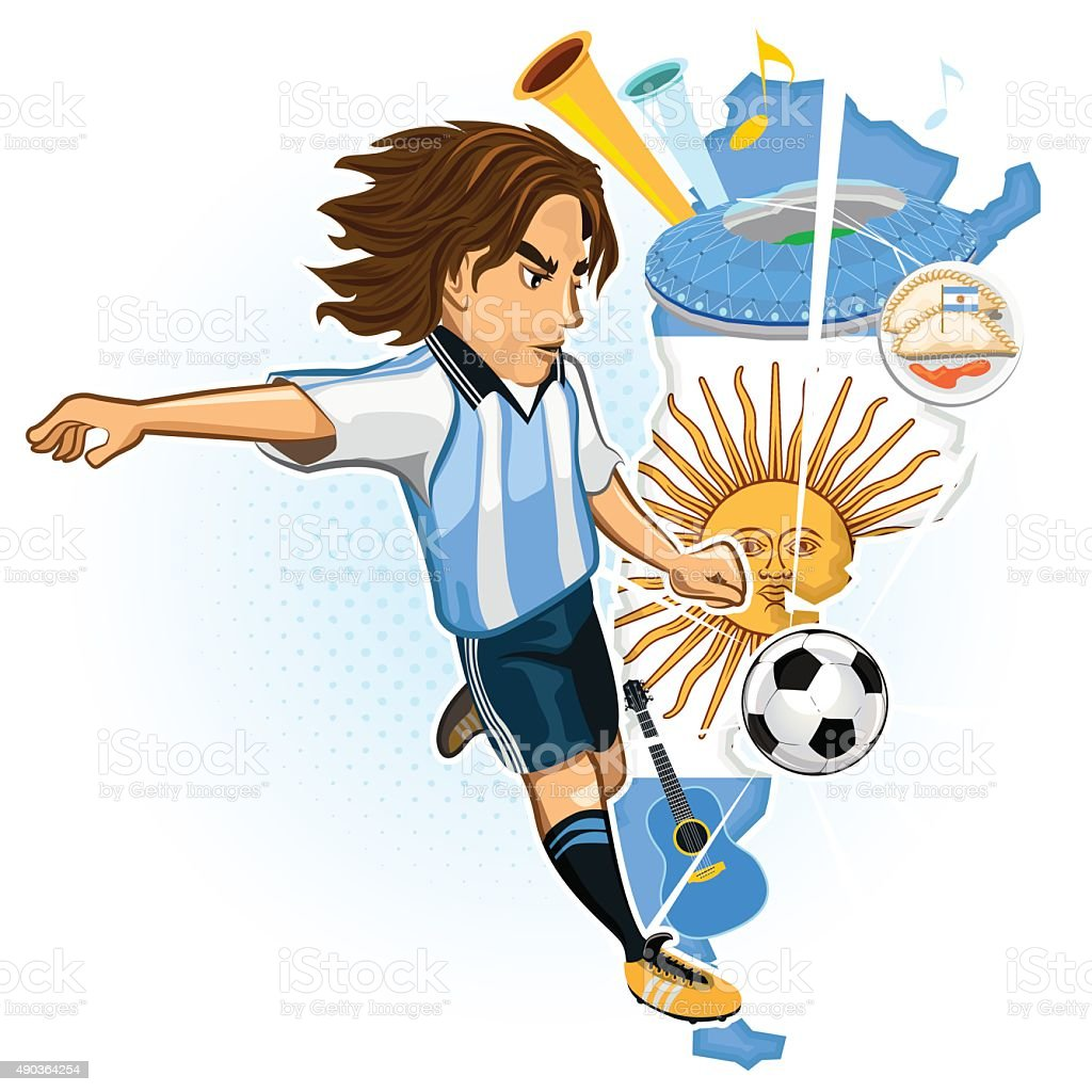 Argentine Argentina Soccer Player vector art illustration