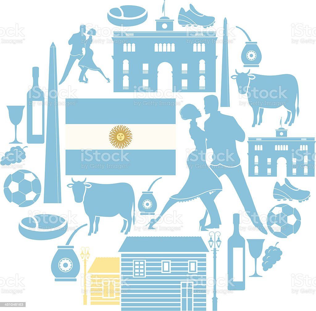 Argentine icon Set vector art illustration