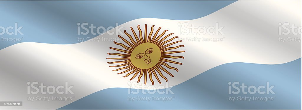 Argentinian Flag Flying in the Wind royalty-free stock vector art