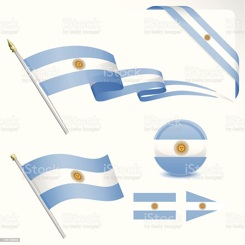 Argentinian Flag Set royalty-free stock vector art