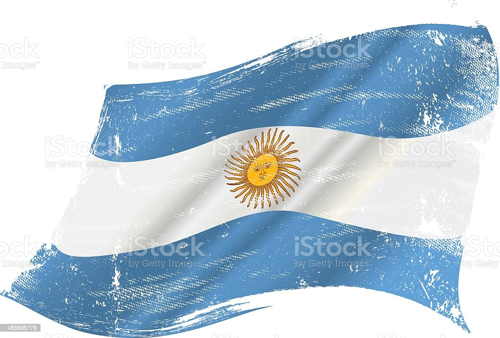 Argentinian grunge flag vector art illustration