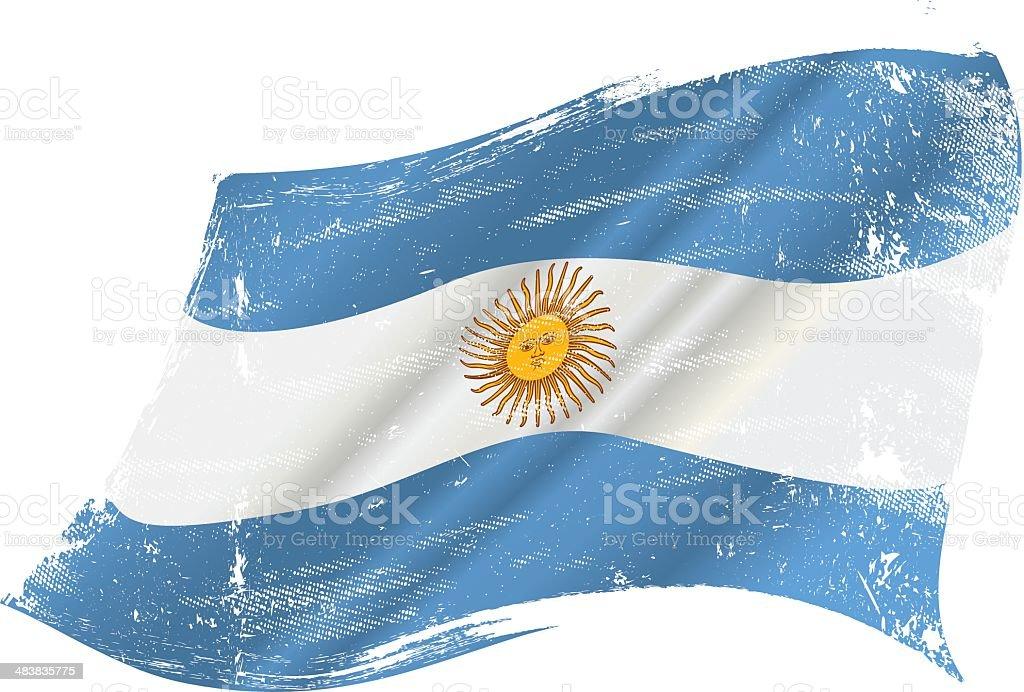 Argentinian grunge flag vector art illustration