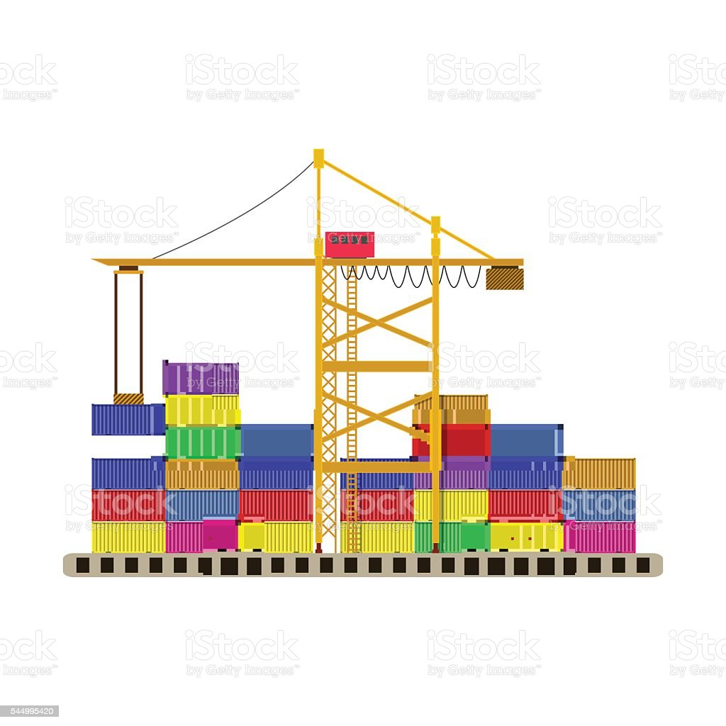 argo port container crane and colorful containers vector art illustration