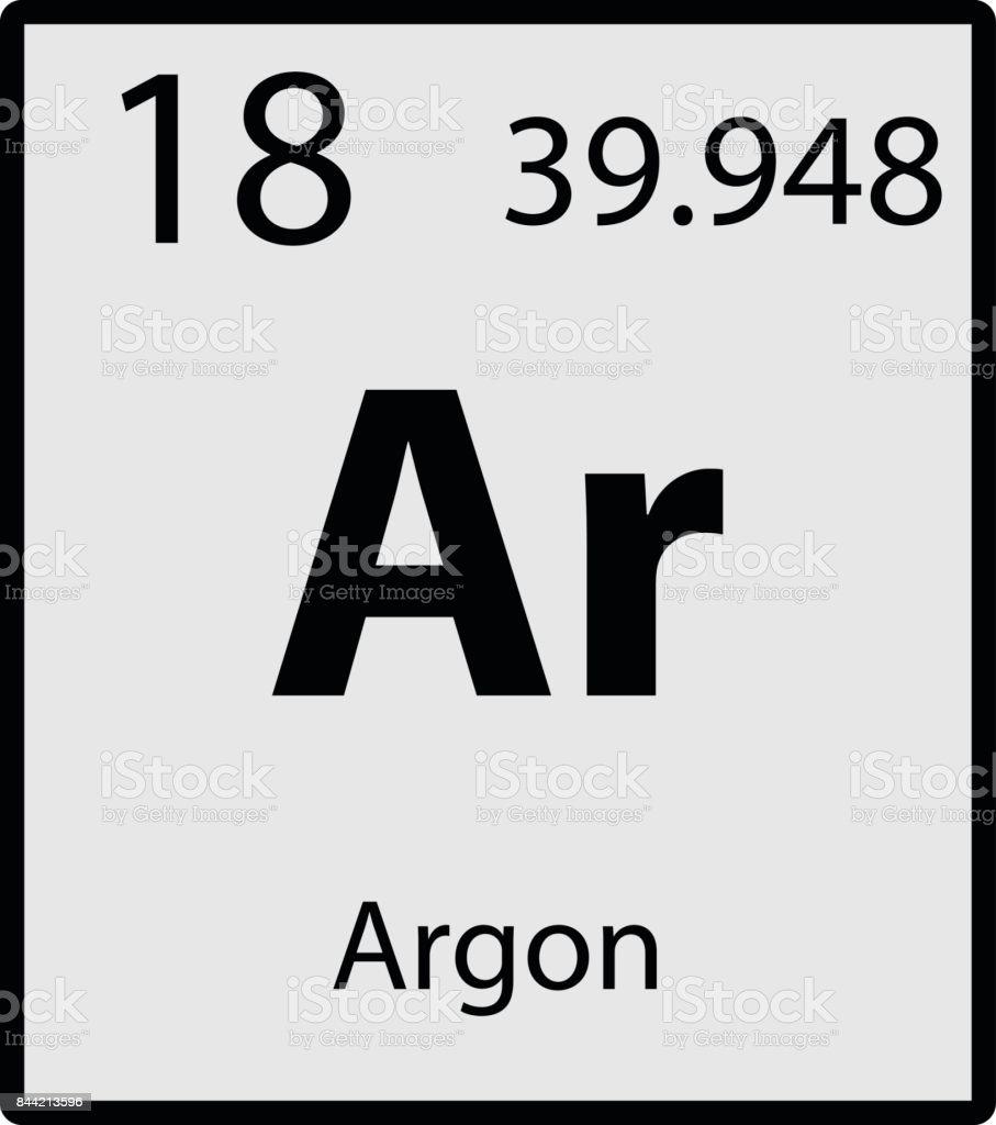 Argon periodic table element gray icon on white background vector vector art illustration
