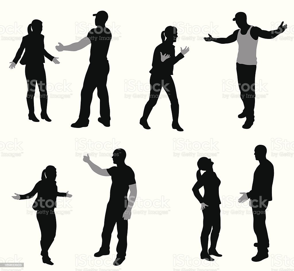 Arguing Couples Vector Silhouette royalty-free stock vector art
