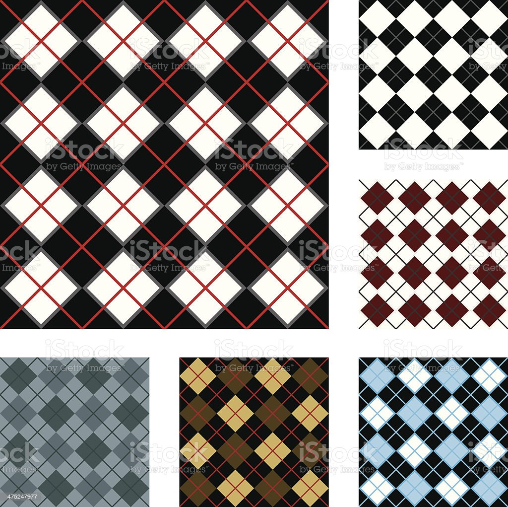 Argyle Checkered Seamless, Repeatable Backgrounds vector art illustration