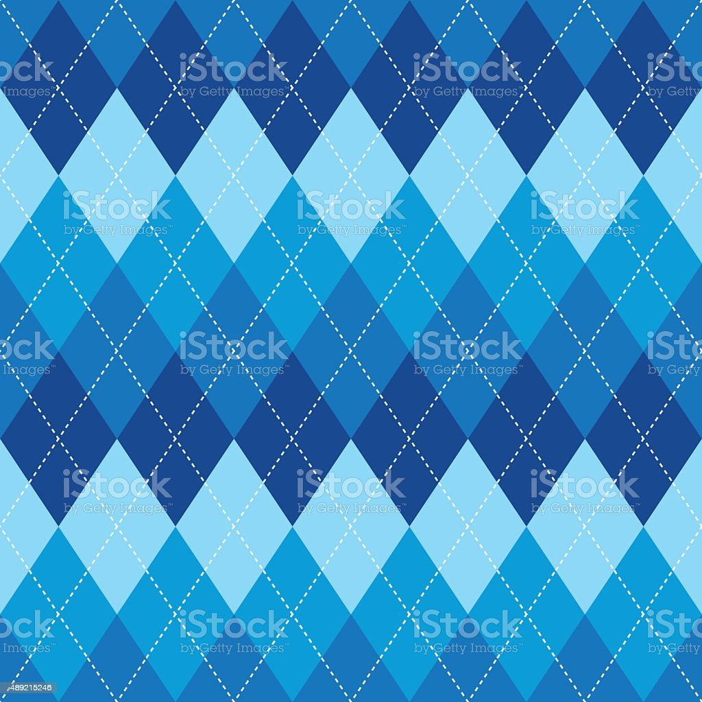 Argyle pattern blue rhombus seamless texture vector art illustration
