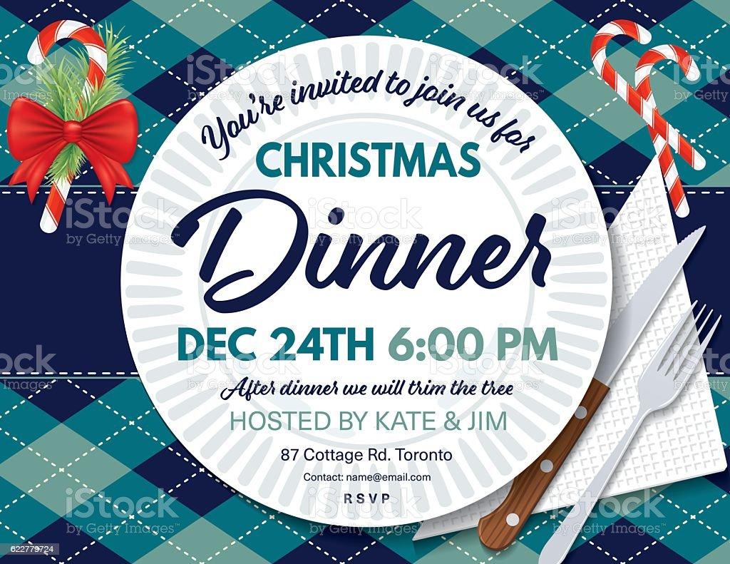 Argyle Tablecloth Christmas Dinner Invitation Template vector art illustration