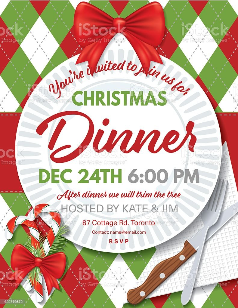 free templates christmas invitations argyle tablecloth christmas – Christmas Dinner Invitation Template Free